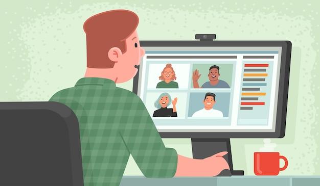 Видео-конференция. деловое общение с коллегами в сети. мужчина, находясь дома, общается с партнерами посредством видеосвязи. удаленная работа. векторная иллюстрация в плоском стиле