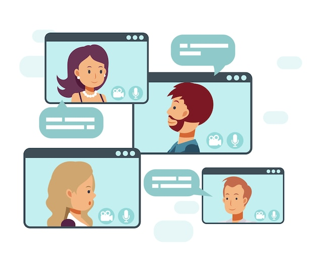 Video conference call of a business group meeting. remote work. work from home,online technology concept illustration.