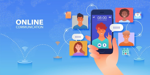 Video conference call of friends on window screen communicating via smartphone app vector banner