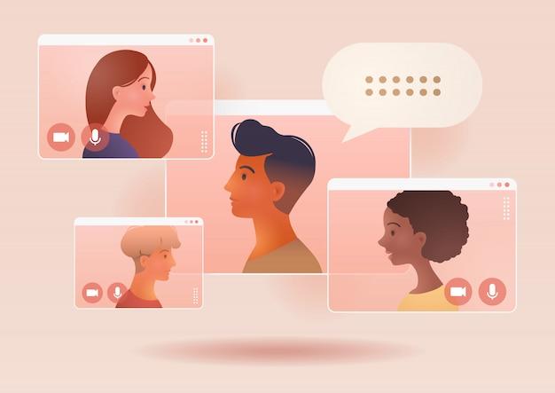 비즈니스 그룹 회의의 화상 회의 전화. 원격 작업. 가정, 온라인 웹 세미나에서 작업하십시오. 사회적 거리두기. 온라인 기술 개념 그림입니다.