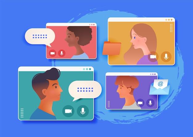 同僚とのグループ会議のビデオ電話会議オンラインイラスト