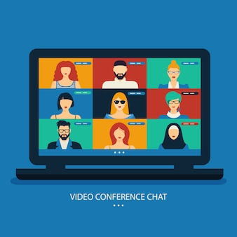 Video conference chat illustration. workplace, laptop screen, group of people. stream, web chatting, meeting friends online.