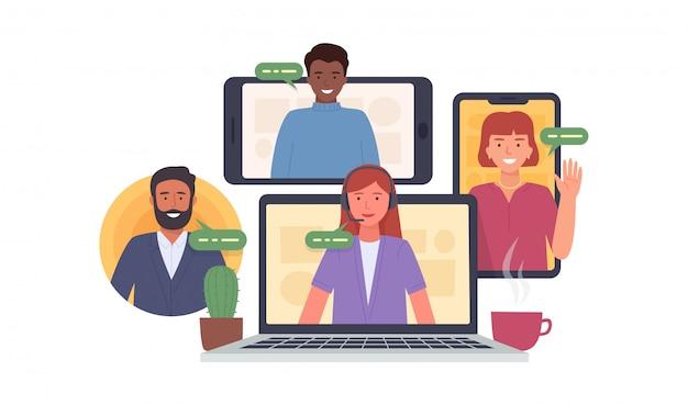 화상 회의. 집에서 화상 회의에 참여하는 동료. 가상 업무 회의. 온라인 커뮤니케이션을위한 소프트웨어. 삽화