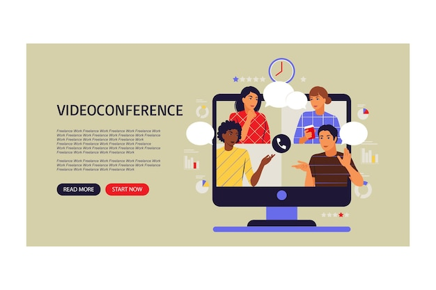 Video conference concept. colleagues on computer screen talking. landing page. vector illustration. flat.