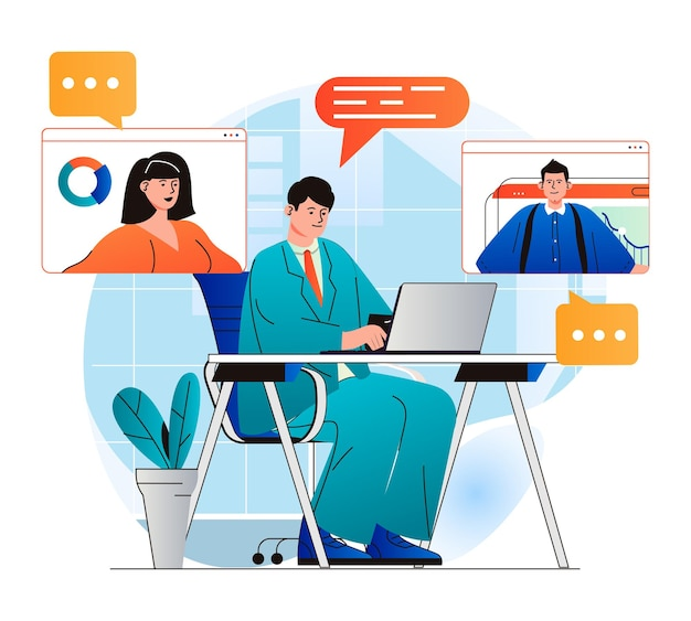 현대적인 평면 디자인의 화상 회의 개념 동료는 원격으로 통신합니다.