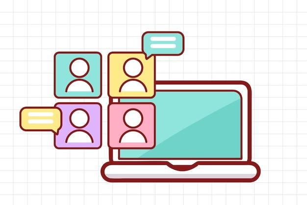 ノートパソコンの手描き漫画アートイラストでオンライン学習や会議をつなぐビデオ会議
