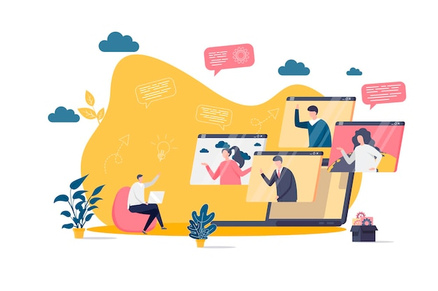 Video conference flat concept with people characters  illustration