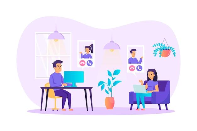 Концепция дизайна квартиры видеоконференции со сценой персонажей людей