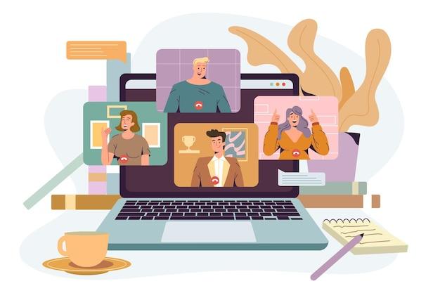 ビデオ会議フラットベクトルイラスト。在宅勤務者、ビデオ会議を介したオンラインコミュニケーション。話をしている同僚のグループと一緒にノートパソコンを画面に表示します。バーチャルミーティング、在宅勤務のコンセプト。
