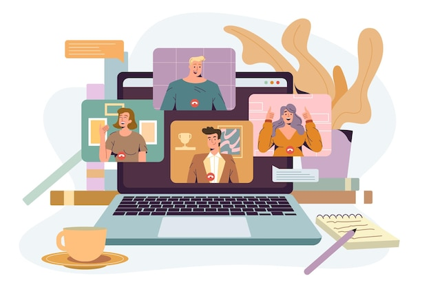 Video conference flat vector illustration. remote working people, online communication via videoconference. screen laptop with group of talking colleagues. virtual meeting, work from home concept.