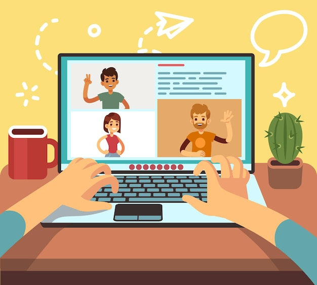 Video conference. friends call online, family chatting. business corporate remote work, freelancers live stream. distance teamwork, people on laptop vector illustration. people online communication
