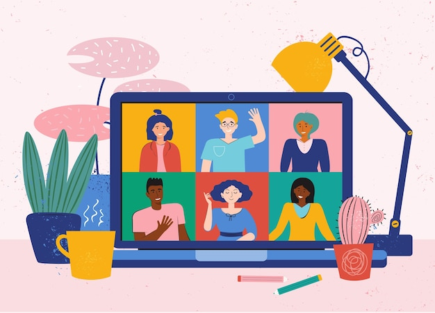オンライン会議のための自宅からのビデオ会議。友達との電話会議。ラップトップを備えた居心地の良いデスクトップ