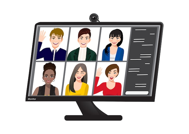 ビデオ会議。インターネットで同僚と話しているコンピューター画面上の人々をグループ化します。ビデオハングアウトのオンライン会議ワークスペース。自宅からインターネットで作業。コミュニケーション、チャット、会議。ベクター