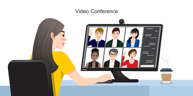 Видео-конференция. группа людей на экране компьютера разговаривает с коллегой по интернету. рабочее пространство для онлайн-встреч во время видеозвонка. работаем по интернету из дома. общение, чат, встречи. вектор