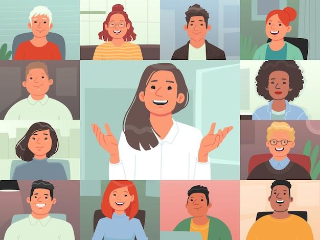 ビデオ会議。グループビデオ通話。同僚はコンピューターを使用して通信します。リモートワーク。オンライン会議でのプロジェクトのディスカッション。フラットスタイルのベクトル図