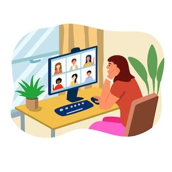 화상 회의 홈 직장 화면 pc 인터넷으로 이야기하는 사람들의 그룹 스트림 웹 채팅