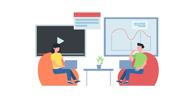Video conference illustration. people on computer screen taking with colleague. videoconferencing and online meeting workspace vector page. video conference online, business people illustration