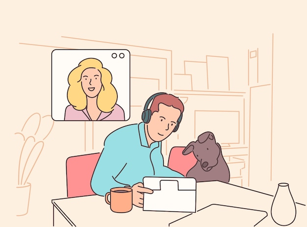Иллюстрация видеоконференции. рабочее место, экран ноутбука, группа людей разговаривает по интернету.