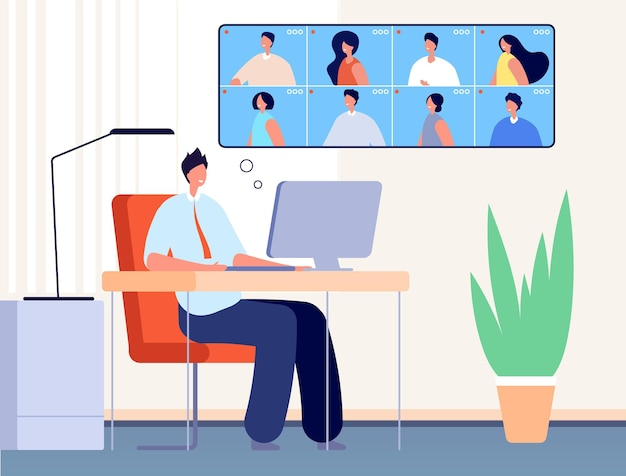 Video conference. internet business call, online office people chat. man learning virtual class, webinar or friends meeting vector concept. illustration video office, internet conversation