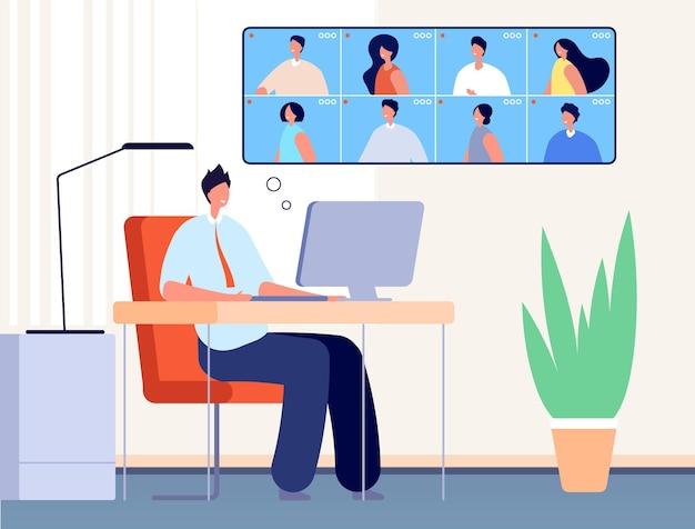 화상 회의. 인터넷 비즈니스 전화, 온라인 사무실 사람들이 채팅합니다. 가상 수업, 웨비나 또는 친구 모임 벡터 개념을 배우는 남자. 일러스트레이션 비디오 오피스, 인터넷 대화