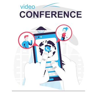 Video conference isolated cartoon concept user makes online video call in mobile app