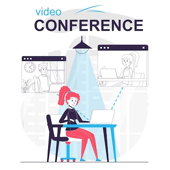 Video conference isolated cartoon concept woman talking to friends on video call by laptop