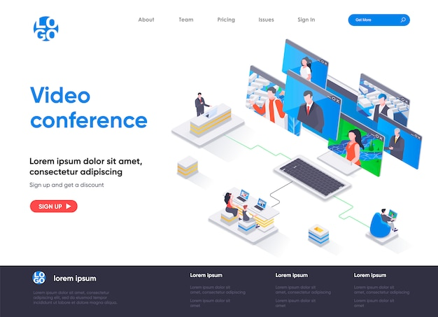 Video conference isometric landing page template
