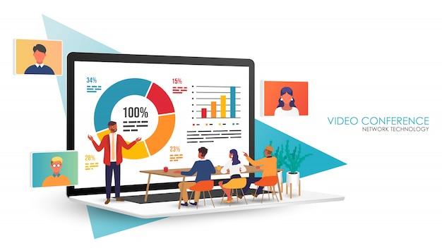 ビデオ会議の着陸。ビデオ通話、ビデオ会議、オンライン会議ワークスペース、ホームコンセプトからの作業による同僚とのコンピューターラップトップ画面会議のビジネスマン