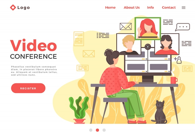 Посадка видеоконференции. интернет бизнес-конференция. онлайн вебинар. люди слушают лектора