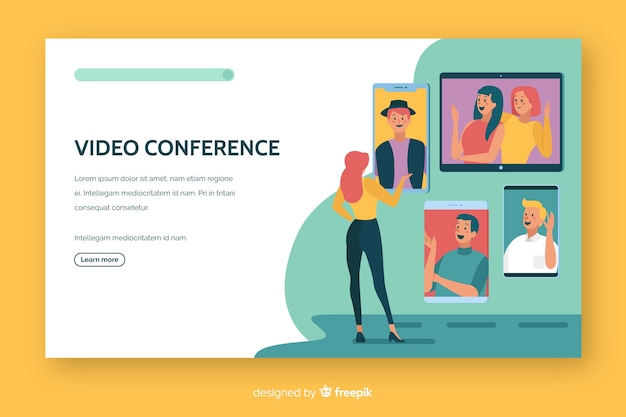 Video conference landing page flat design