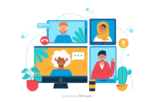 Video conference landing page illustration