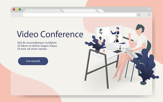 ビデオ会議のランディングページ。コンピューターの画面上の人々は、インターネットを介して同僚と一緒に撮影します。ビデオ会議とオンライン会議のワークスペースのコンセプトデザイン。
