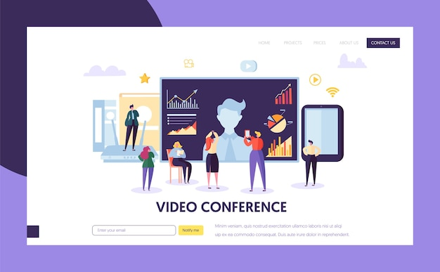 Video conference landing page template. business people characters communication webinar, online education for website or web page.