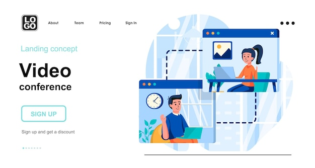 Video conference landing page template
