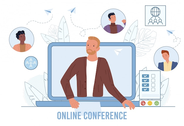 Video conference on laptop screen