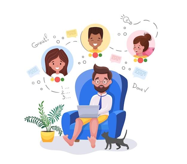 화상 회의. 집에서 동료 또는 클라이언트와 화상 통화 회의를 갖는 노트북과 함께 집에 앉아 남자. 화상 회의 및 온라인 회의 작업 공간