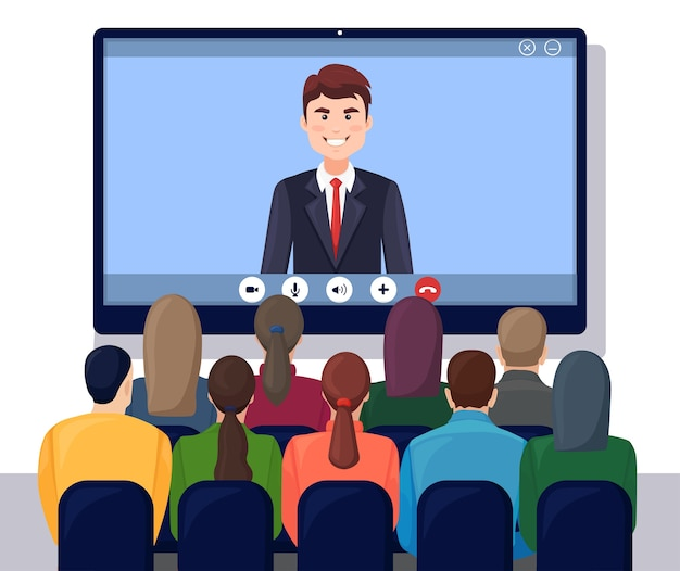 Встреча по видеоконференции с генеральным директором, начальником. консультации, обучение, концепция презентации