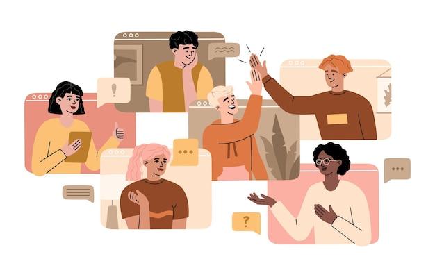집에서 온 원격 작업자의 화상 회의, 온라인 팀 통화, 행복한 미소 짓는 남녀가 컴퓨터 화면에서 회의를 합니다. 가상 사무실 개념, 통신의 벡터 일러스트 레이 션, 평면 만화