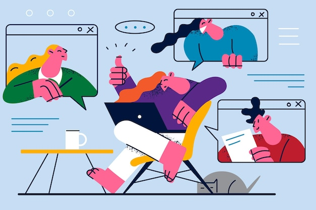 Video conference and online communication illustration