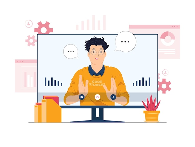 ビデオ会議、オンライン学習、在宅勤務の概念図