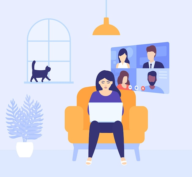 Video conference, online meeting, girl working at home, vector