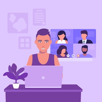 Video conference, online meeting, group video call, girl with short haircut at laptop, vector illustration