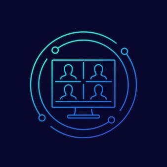 화상 회의, 온라인 회의, 그룹 화상 통화 라인 아이콘