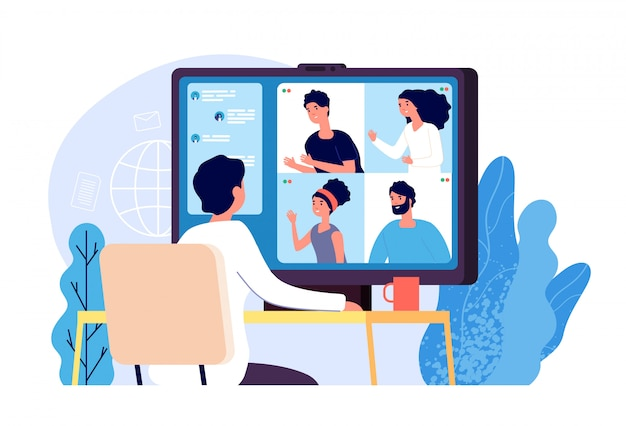 ビデオ会議。コンピューター画面上の同僚との人々のグループ