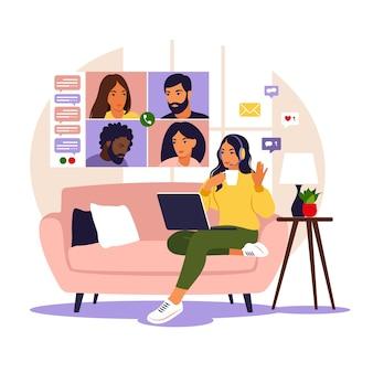 화상 회의. 동료 또는 친구와 이야기하는 컴퓨터 화면에있는 사람들. 온라인 회의 작업 공간.
