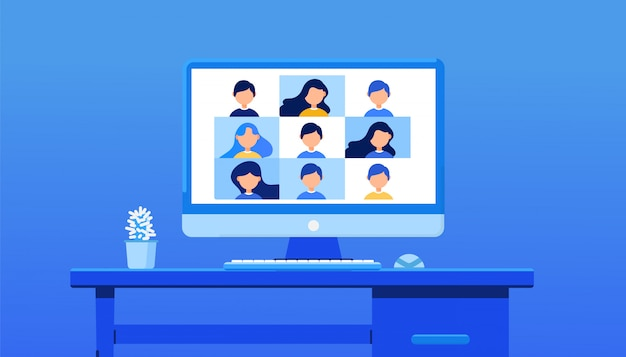 Video conference for training. e-learning, online meeting, work from home concept on background. illustration for web banner, landing page or web header.