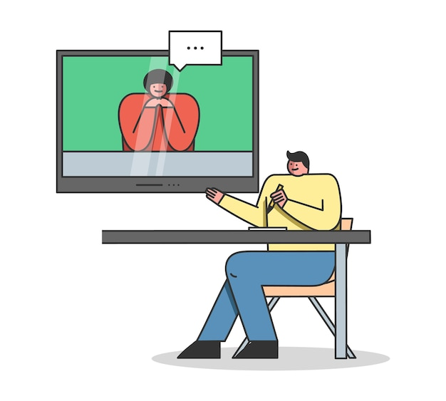 Video conference or webinar online course or video business conference