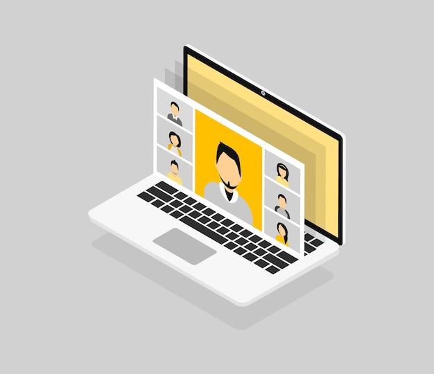 アイソメトリックスタイルのラップトップ画面での人々のグループとのビデオ会議。同僚はお互いに話します。在宅勤務の会議ビデオ通話。モダンな黄灰色のイラスト。