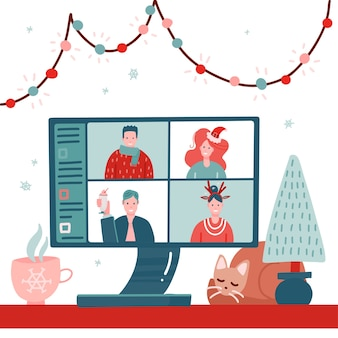 Video conference with people group in winter holiday costumes, meeting online.