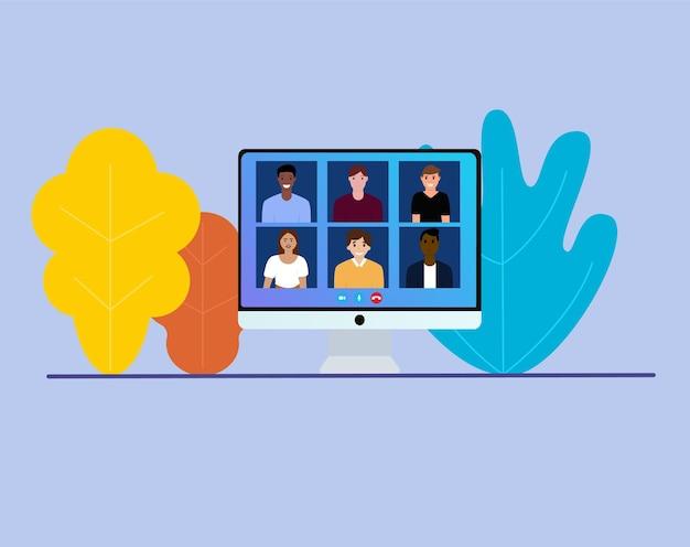 Видеоконференция с людьми. рабочая встреча. конференц-видеозвонок